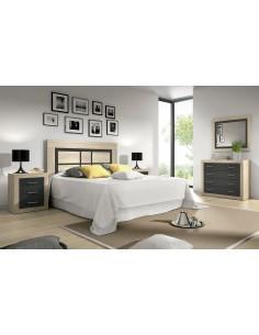 Dormitorio SARA grafito con cabezal de pie