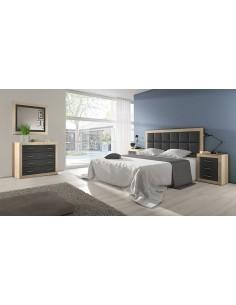 Dormitorio SARA grafito con cabezal con plafón