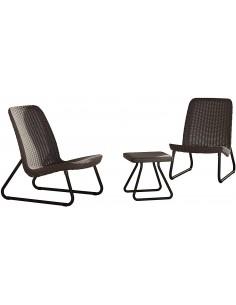 Mesa y 2 sillas RIO marrón